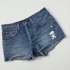 Levi's x Peanuts Raw Hem Denim Jean Shorts 26 Blue